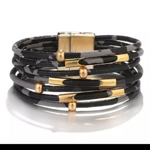 Jewelry - NWT Leather Black Leopard & Gold Bead Bracelet